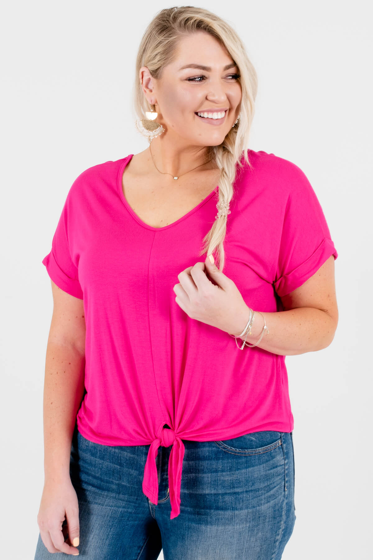 Hot Pink Plus Size Tie-Front Knot Tops Affordable Online Boutique