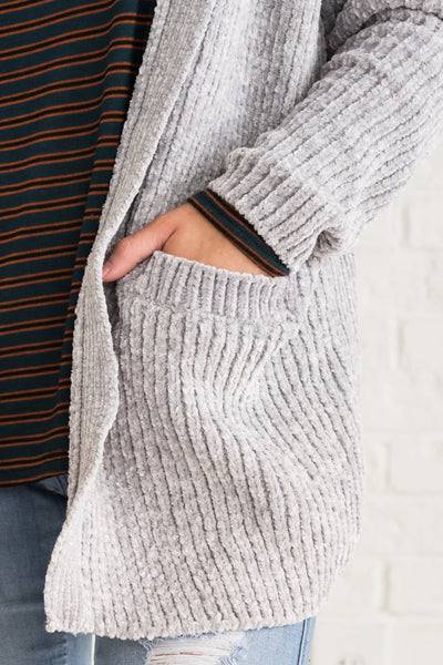 Light Gray Cardigan With Pockets