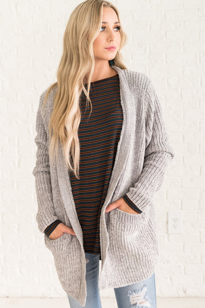 Light Gray Soft Knit Chenille Cardigans Cozy Warm Clothing for Women