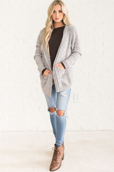 Light Gray Cardigan Womens Outerwear