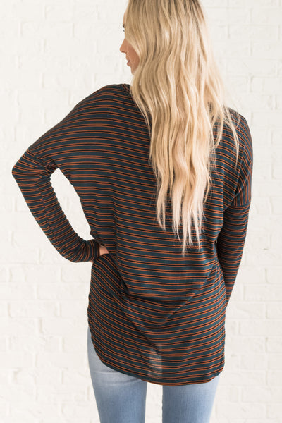 Teal Green Striped Long Sleeve High Low Long Tops for Fall
