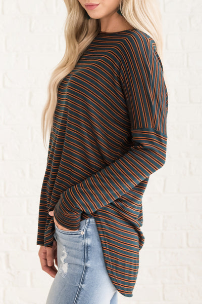 Green Orange Black Striped Drop Shoulder Tops in Fall Colors