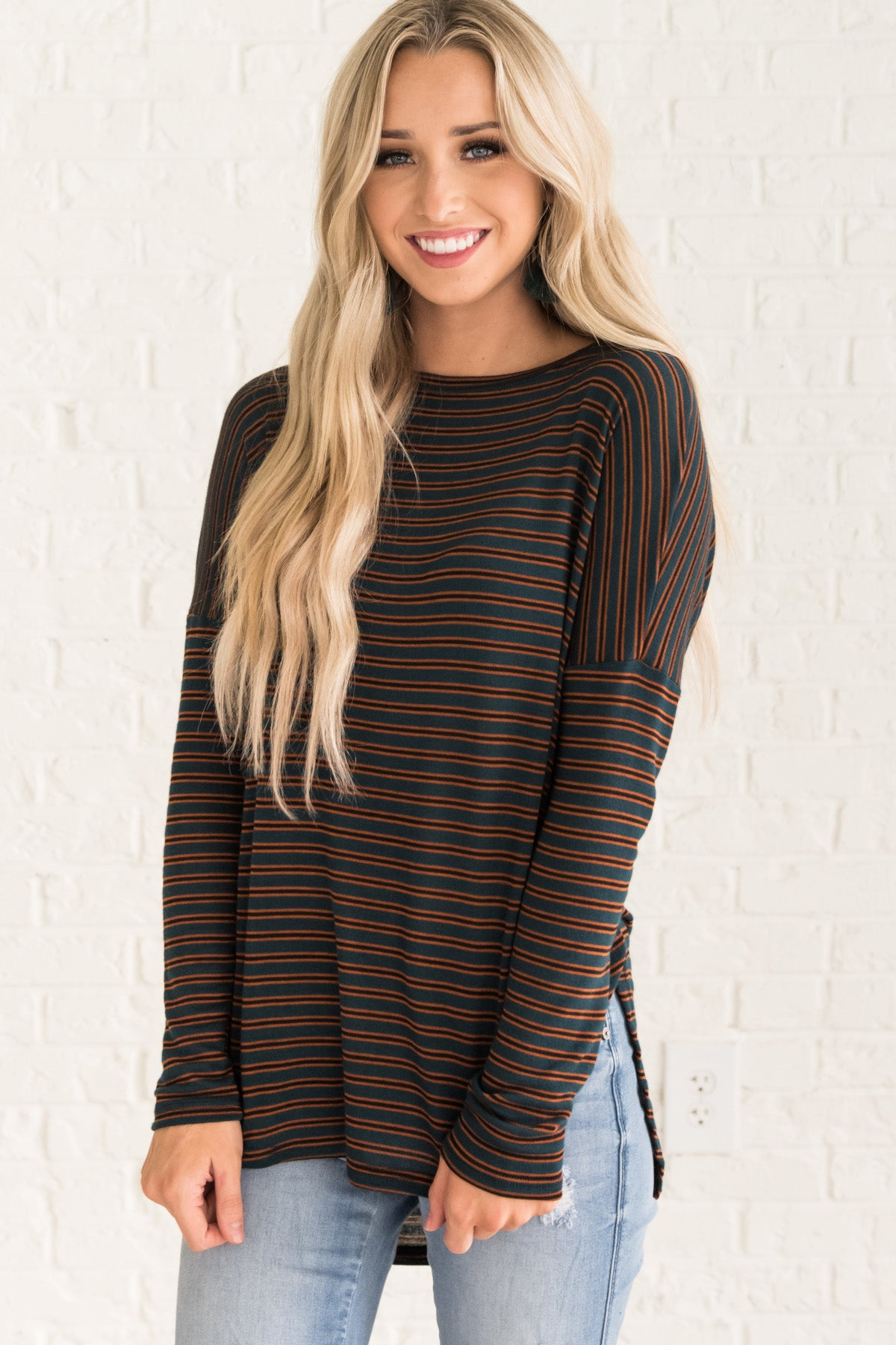 Green Orange Black Striped Oversized Soft Long Sleeve Tops