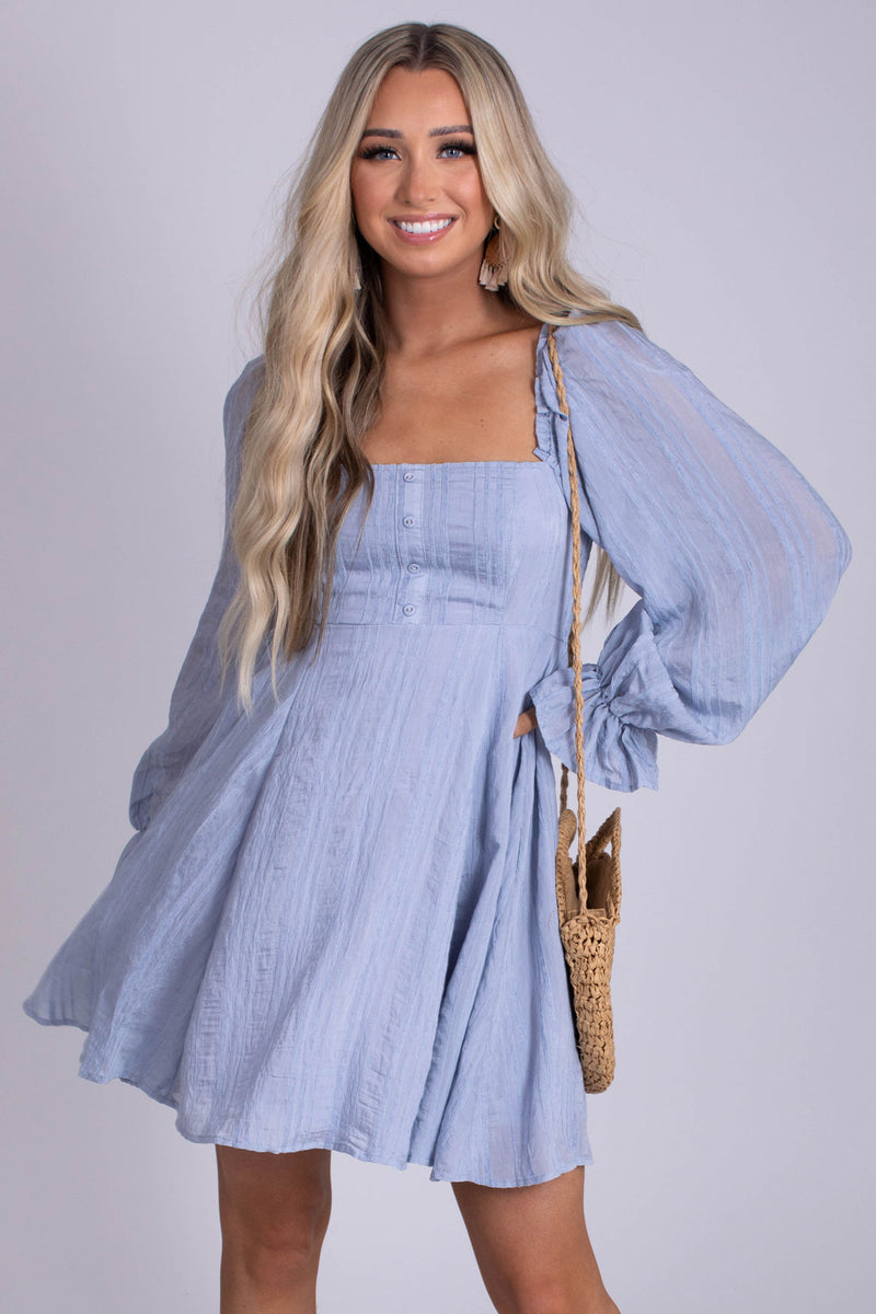 Farmers Market Puff Sleeve Mini Dress - Light Blue