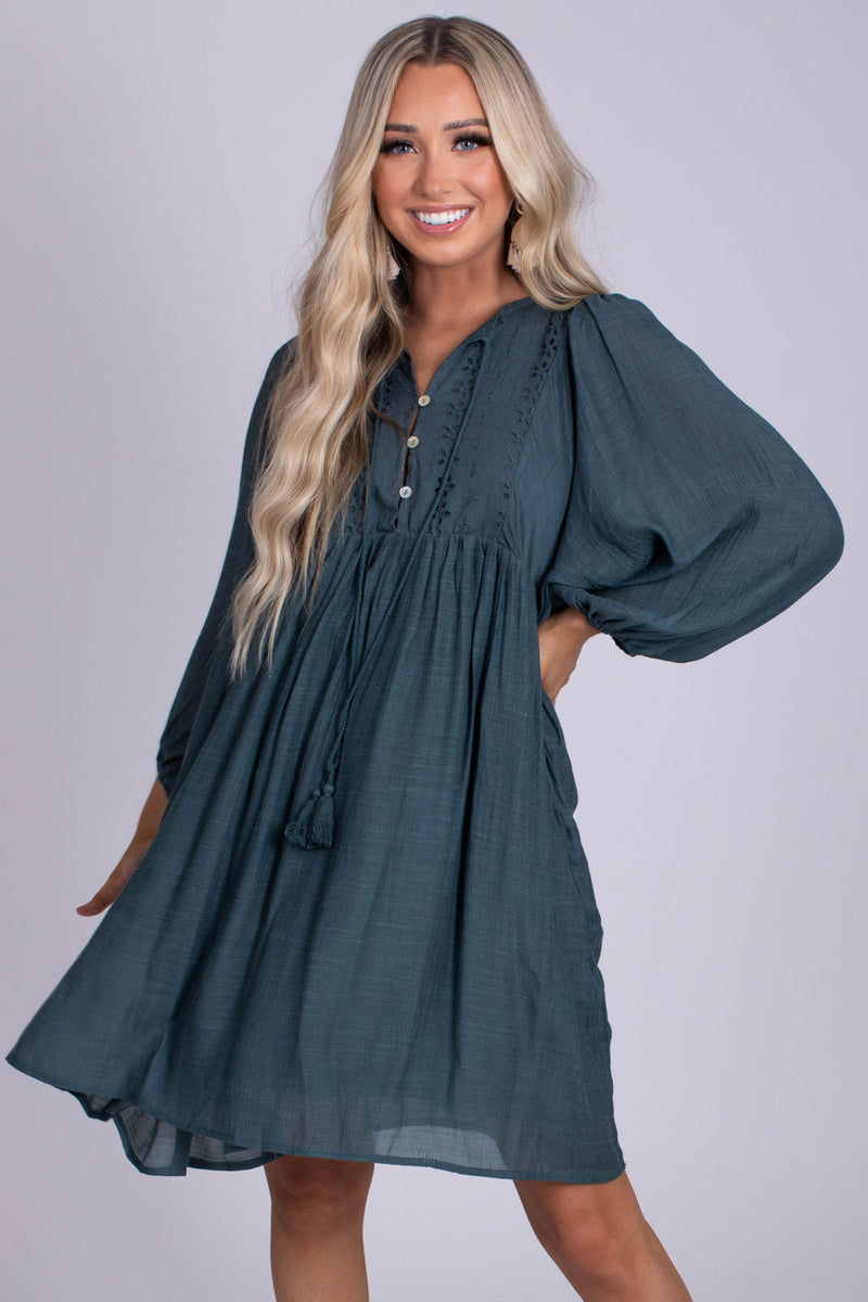Find A Way Long Sleeve Mini Dress