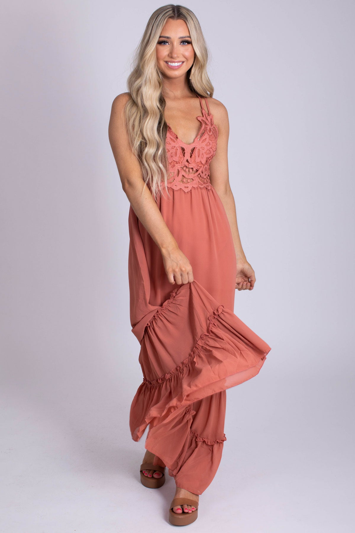 Lace Detail Long Length Women's Maxi Dress