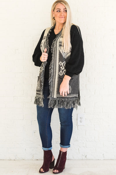 Gray Black Cream Sweater Knit Thick Warm Tassel Vests Plus Size Curvy