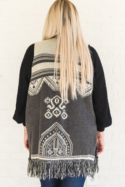 Gray Plus Size Sweater Vest with Tribal Print and Tassels