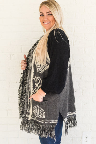 Gray Boho Chic Aztec Tribal Print Sweater Knit Vests for Winter Plus Size Curvy Boutique