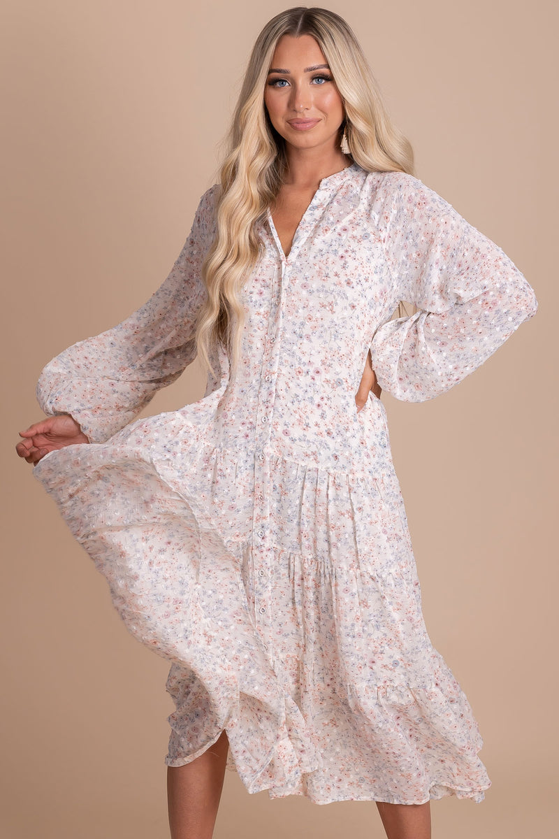 Floral Fantasy Long Sleeve Midi Dress - Off White