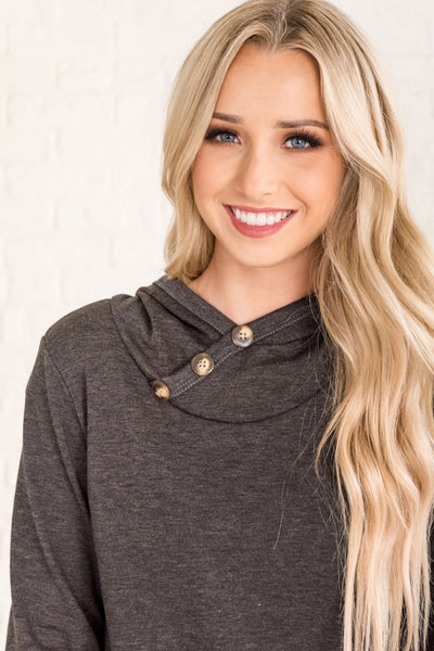 Charcoal Gray Cute Button Up Hoodie from Affordable Online Boutique