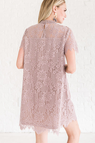 Lilac Mauve Purple Semi Formal Slip Overlay Lace Mini Cocktail Dresses