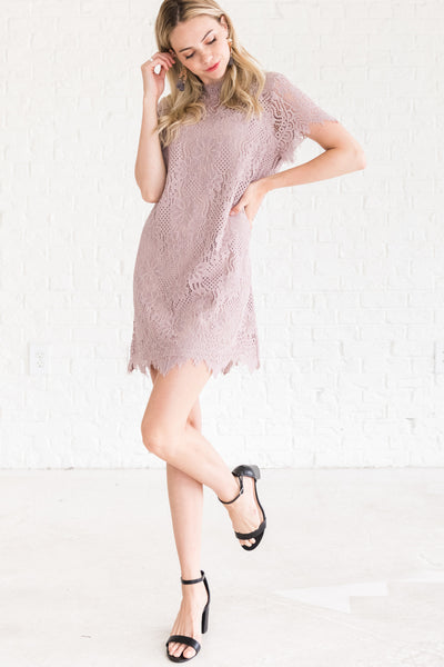 Lilac Mauve Purple Cocktail Semi Formal Bridesmaid Short Lace Mini Dress