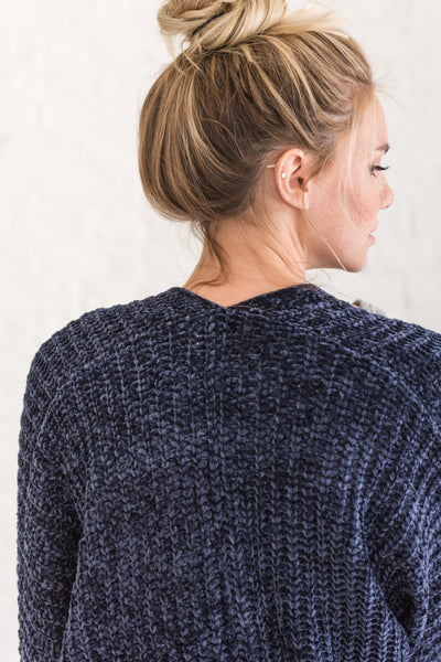 Navy Blue Chenille Cardigan for Winter Cozy Warm Clothing