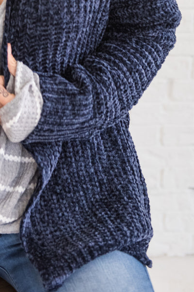 Navy Blue Knit Cardigan