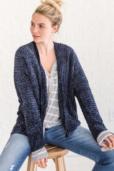 Navy Blue Soft Knit Chenille Cardigans Cozy Warm Clothes for Winter