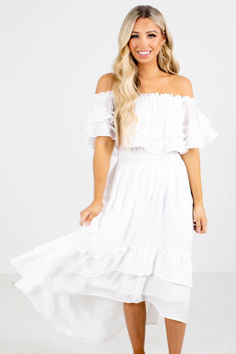 Glamour Guide Off Shoulder Midi Dress - White