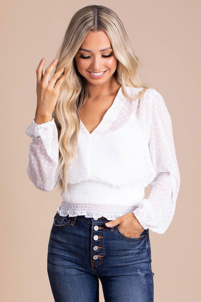 Go For A Walk Sheer Long Sleeve Top - White
