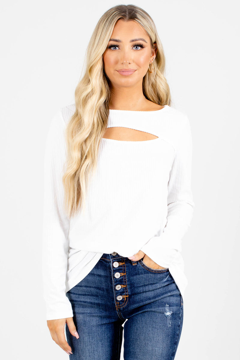 Good Talk Cut-Out Long Sleeve Top - White