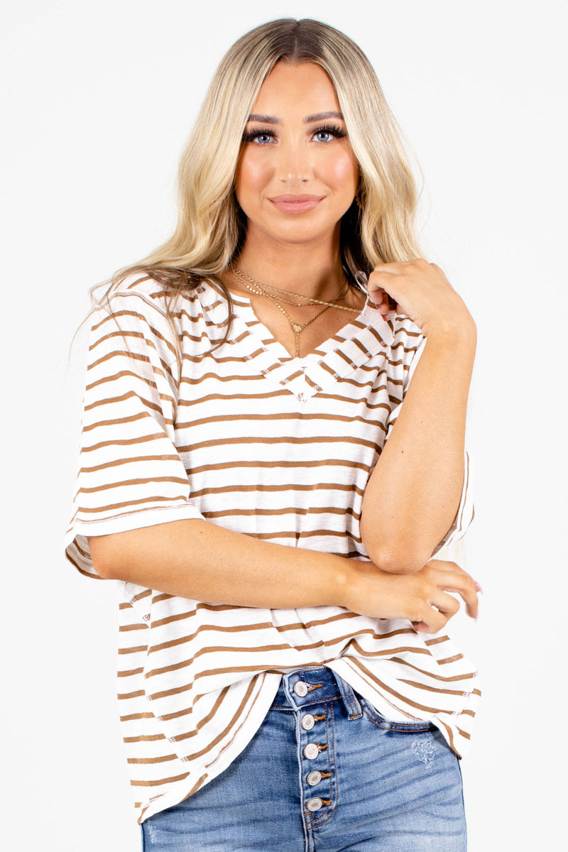 Gotta Be Strong Striped Top - Light Brown