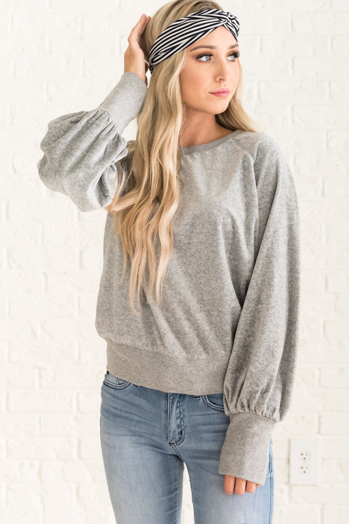 Heather Gray Velvet Sweatshirt Pullover Sweaters with Ribbed Details and Bishop Sleeves