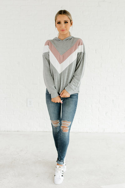Heather Gray Mauve White Color Block Boutique Hoodie Tops Outerwear