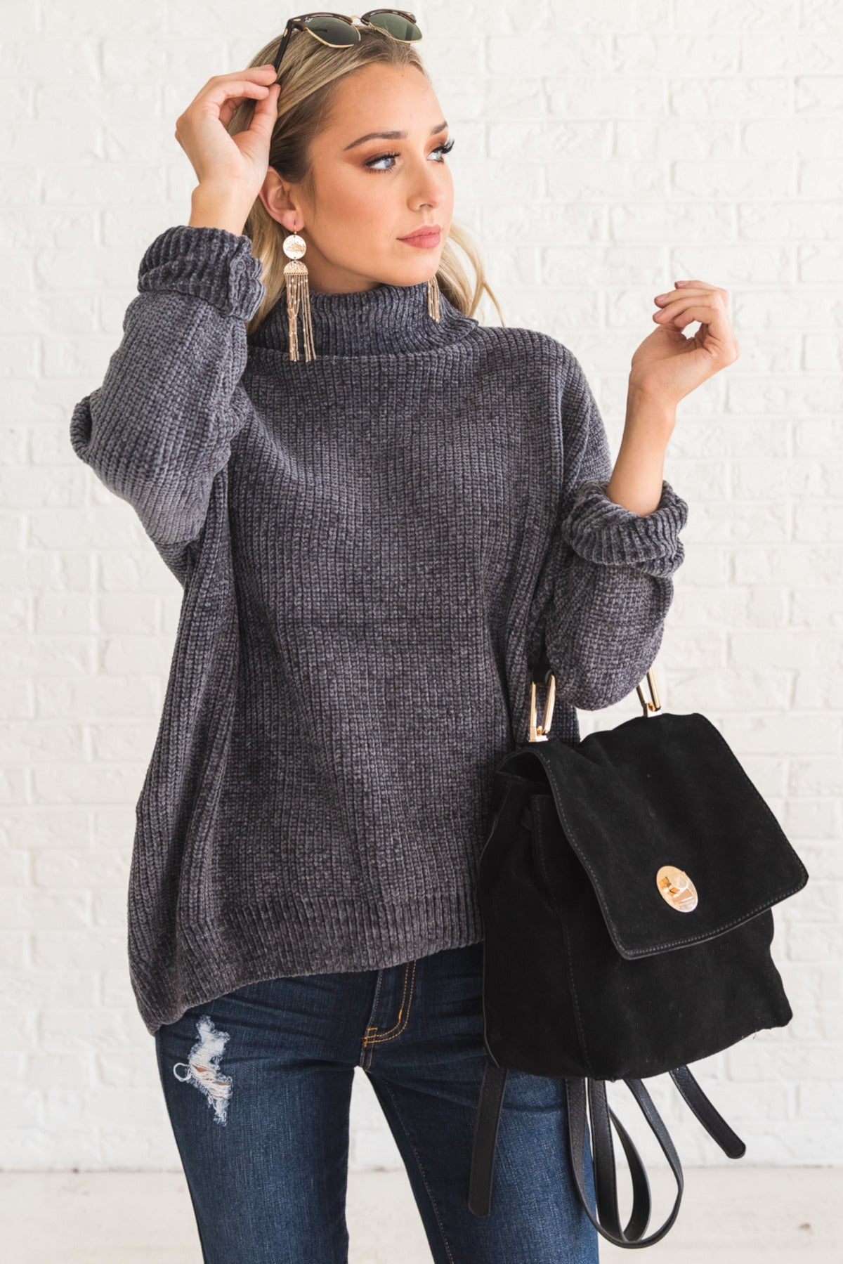 Charcoal Gray Cozy Warm Soft Knit Chenille Sweaters with Cowl Neck