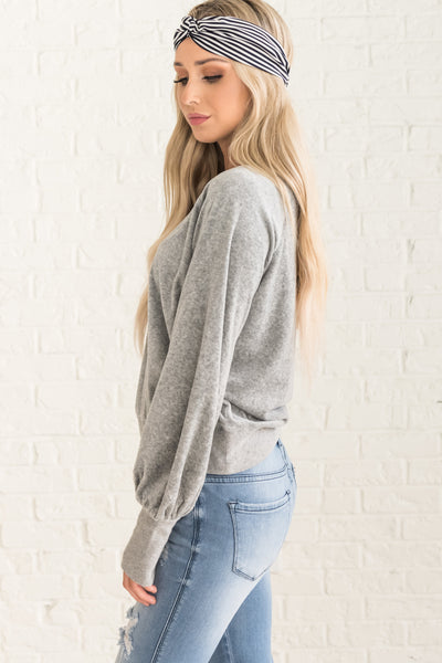 Gray Velvet Sweatshirts with Bishop Sleeves for Womens Winter Fashion
