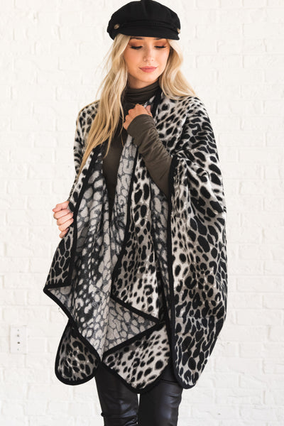 Gray Leopard Animal Print Cute Boutique Outerwear for Women