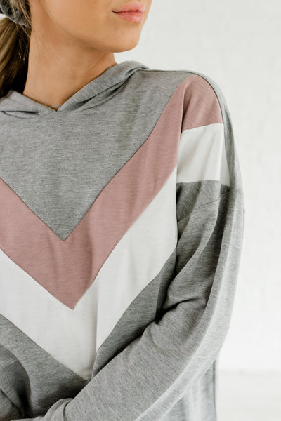Gray Mauve White Color Block Chevron Varsity Lightweight Hoodie Tops
