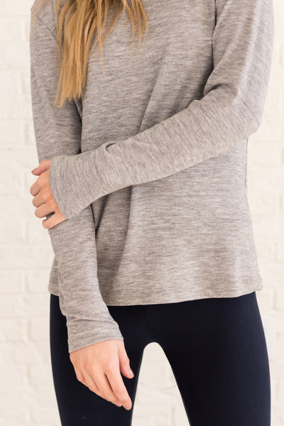 Heather Gray Strappy Open Back Cute Boutique Activewear Tops and Pullovers