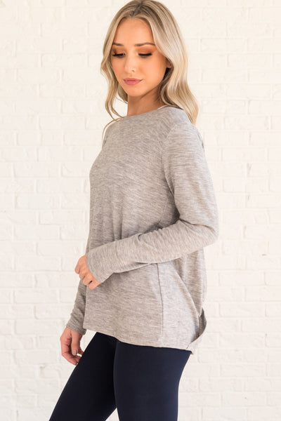 Heather Gray Boutique Activewear Tops with Open Back Racerback Wrap