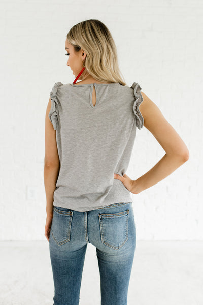 Gray Striped Ruffle Sleeve Front Knot Accent Keyhole Back Tops