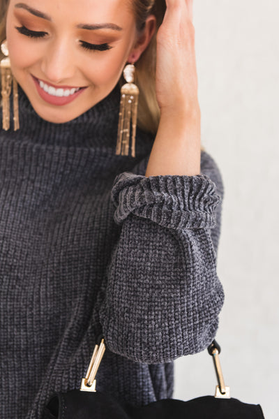Charcoal Gray Oversized Cozy Warm Chenille Sweaters with Cowl Neck