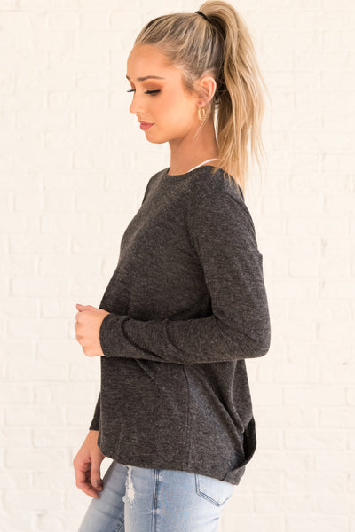 Charcoal Gray Cute Boutique Activewear Tops with Open Back