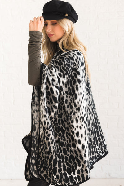 Gray Leopard Print Ruanas Affordable Online Boutique