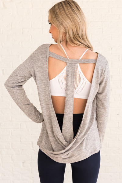 Heather Gray Racerback Wrap Style Open Back Cut Out Activewear Tops