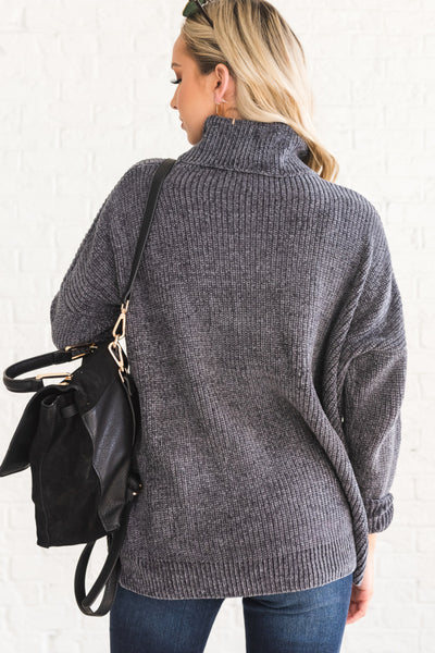 Charcoal Gray Cute Cozy Oversized Chenille Cowl Neck Sweaters for Winter