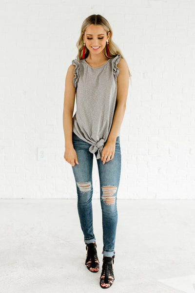 Gray Striped Boutique Front Knot Ruffle Tops for Women