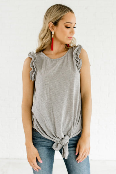 Gray Striped Front Knot Ruffle Sleeve Tank Tops Affordable Online Boutique