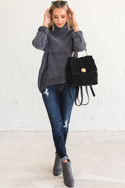 Charcoal Gray Cute Soft Knit Warm Cozy Winter Fashion Chenille Cowl Neck Sweaters