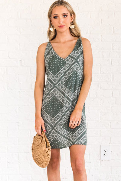 Sage Green Boutique Mini Dress with White Paisley Pattern for Women