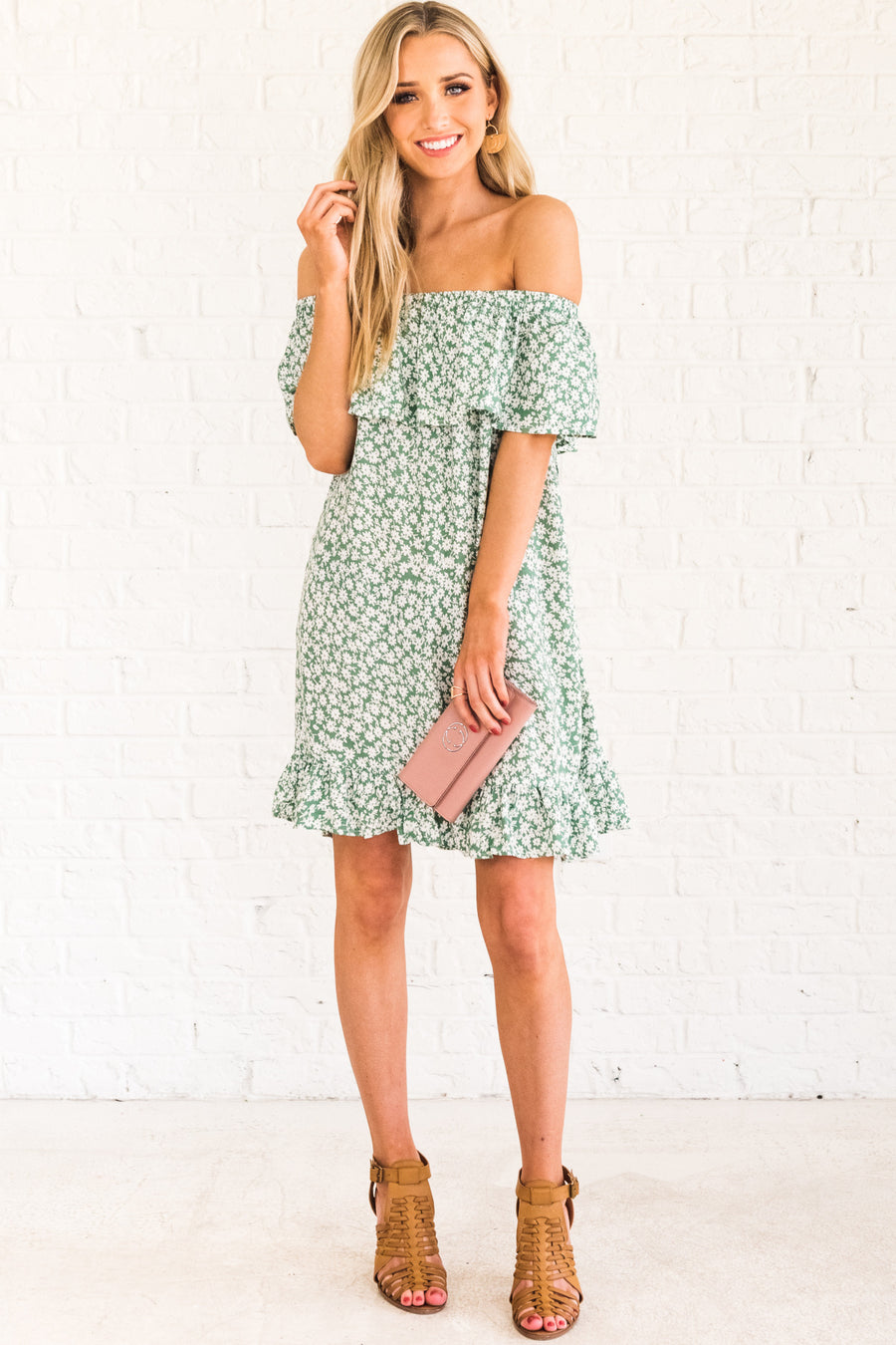 45fc36c0a26 Tea Party Green Floral Off Shoulder Mini Dress