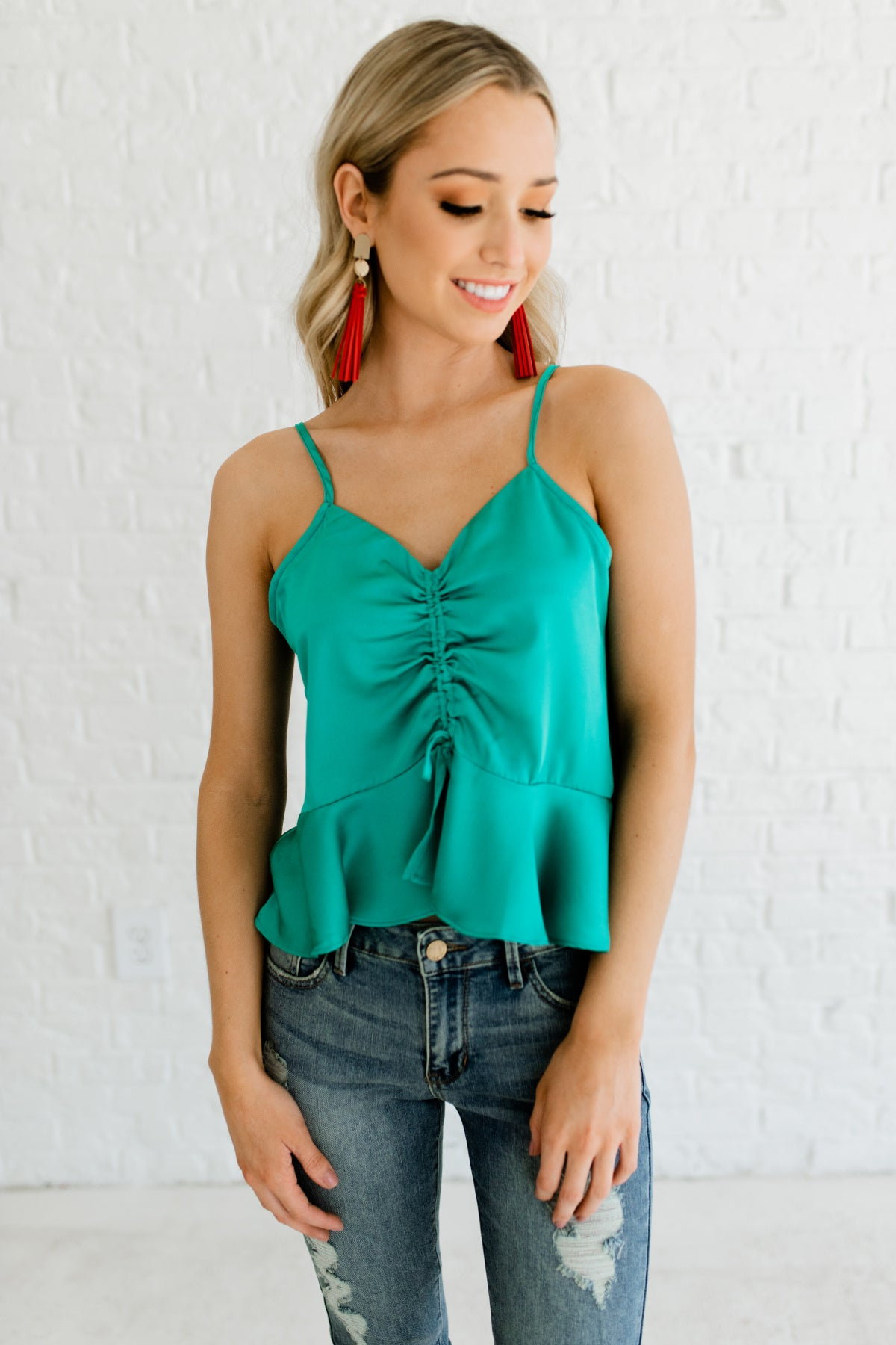 Sea Green Cute Textured Satin Drawstring Bodice Ruffle Hem Cami Tank Tops