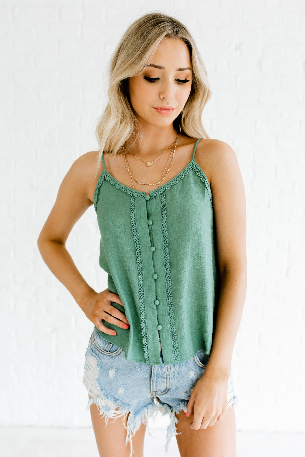 Turquoise Green Crochet Trim Button Up Tank Tops for Women