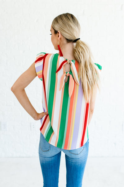 Green Coral Peach White Purple Red Striped Color Block Tops Affordable Online Boutique