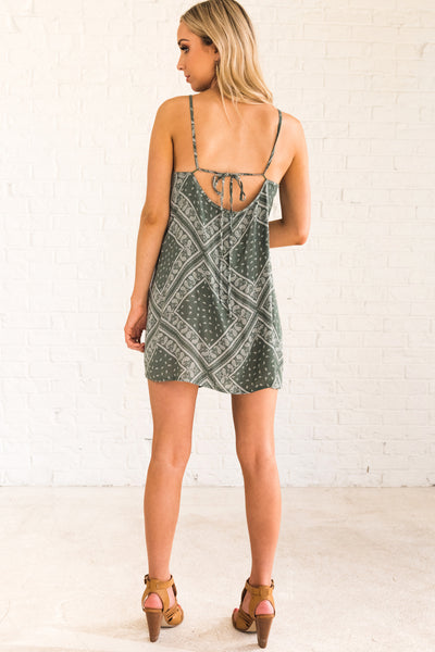 Sage Green and White Patterned Women's Open Back Boutique Dress