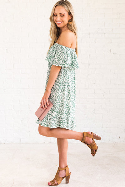 Green Off Shoulder Floral Mini Dress Ruffled Details Spring Summer Boutique Fashion
