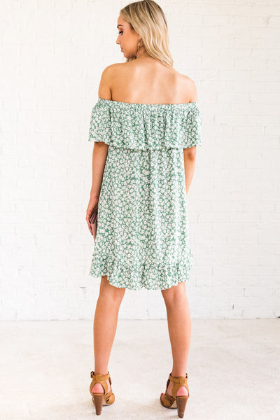 Green White Floral Mini Dress Ruffle Overlay Hem Off the Shoulder Boutique Dresses
