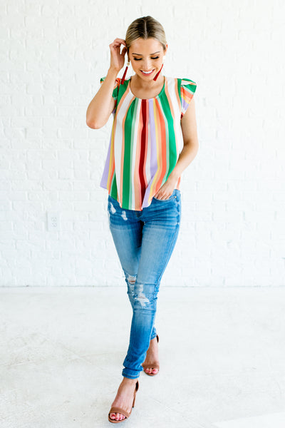 Green Multi Rainbow Color Block Striped Petal Sleeve Double Bow Tops for Women